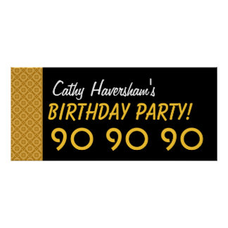 Custom 90th Birthday or Any Year Gold Stars Poster