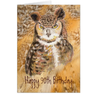 Custom 90th Birthday,  Owl Wild & Crazy Card