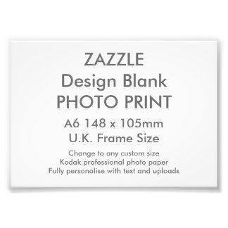 Custom A6 Photo Print  UK Frame Size