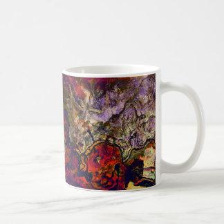 Custom Abstract Evening Red Cream & Midnight Swirl Coffee Mug