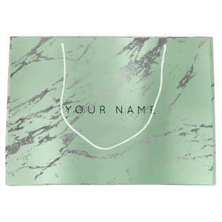 Custom Abstract Silver Gray Marble Metallic Mint Large Gift Bag
