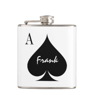 Custom Ace of spades playing card suit drink flask