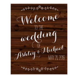 Custom add bride groom's name date wedding sign poster