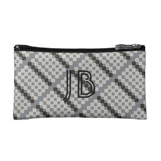 Custom Add Initials Grey Cream Patterned Bag