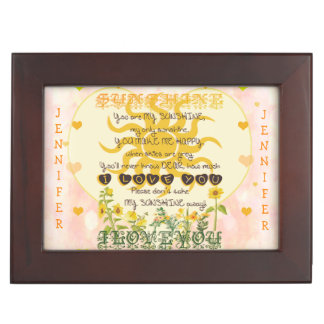 Custom Add Name You Are My Sunshine Memory Boxes
