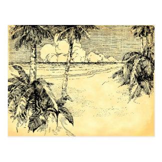 Custom Address Tropical Beach Vintage Art Postcard