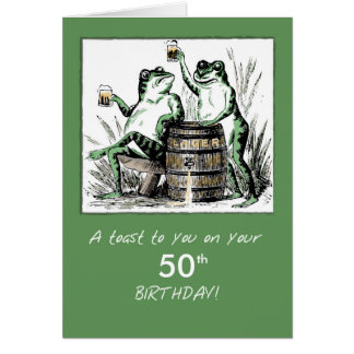 Custom Age Birthday Frogs Toasting with Beer Card