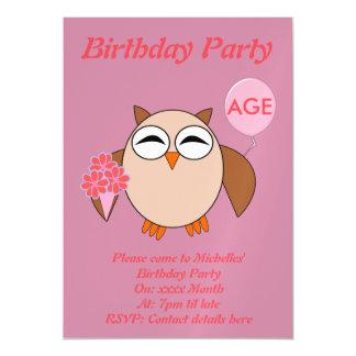 Custom Age Birthday Owl Party Invites Magnetic Invitations