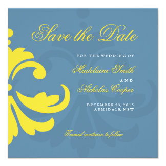 Custom air force and white damask save the date 13 cm x 13 cm square invitation card