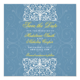 Custom air force and white vintage save the date 13 cm x 13 cm square invitation card