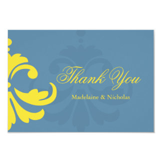 Custom air force blue and white damask thank you 9 cm x 13 cm invitation card
