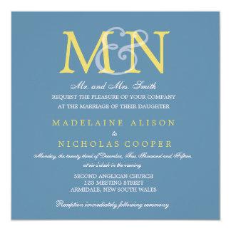 Custom air force blue modern wedding invite