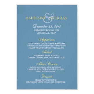 Custom air force blue modern wedding menu card 13 cm x 18 cm invitation card