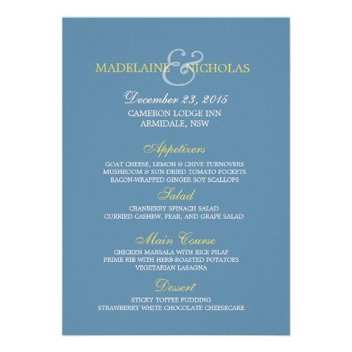 Custom air force blue modern wedding menu card