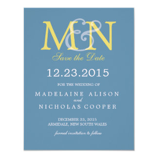 Custom air force blue modern wedding save the date 11 cm x 14 cm invitation card