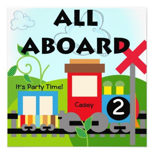 Custom All Aboard Train Party Invitations