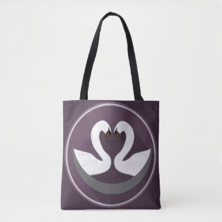 Custom All-Over-Print Tote Bag LOVE SWANS