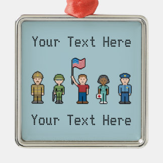 Custom American Heroes Silver-Colored Square Decoration