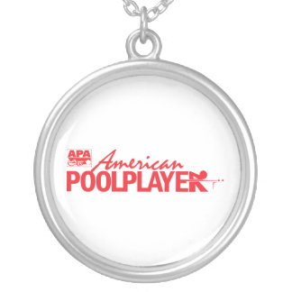 Custom American Pool Player - Red Silver Plated Necklace