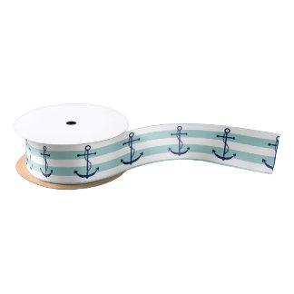 "Custom Anchor 1.5"" Wide Satin Ribbon, 2 Yard Spool Satin Ribbon"