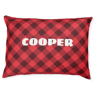 Custom and Cozy Red Plaid Indoor Dog Pillow