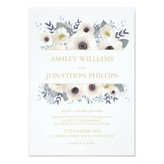 Custom Anemone Bouquet Wedding Invitation