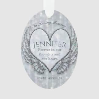 Custom Angel Heart and Wings Memorial Ornament