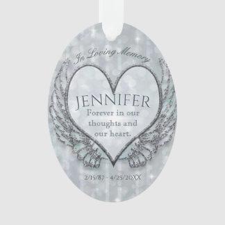 Custom Angel Heart and Wings Memorial Ornament