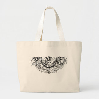 Custom angel wings cherub fleur di lis print canvas bags