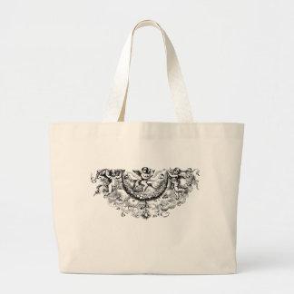 Custom angel wings cherub fleur di lis print jumbo tote bag