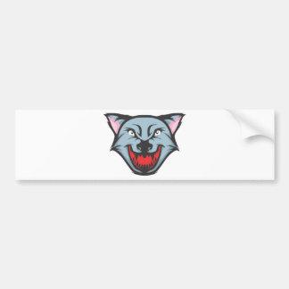 Custom Angry Wolf Cartoon Bumper Sticker
