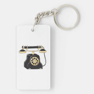 Custom Antique Rotary Dial Telephone Collector Mug Double-Sided Rectangular Acrylic Key Ring