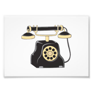 Custom Antique Rotary Dial Telephone Collector Pin Photo Print