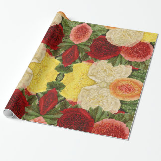 Custom Antique Vintage Red White Pink Yellow Roses Wrapping Paper
