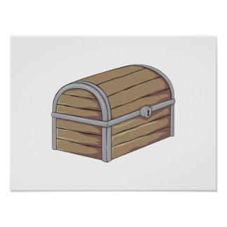 Custom Antique Wooden Pirate Treasure Chest Cards Posters