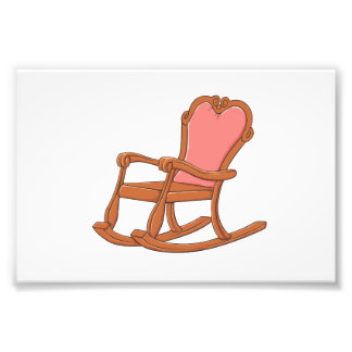 Custom Antique Wooden Rocking Chair Greeting Cards Photographic Print