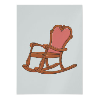 Custom Antique Wooden Rocking Chair Invitations