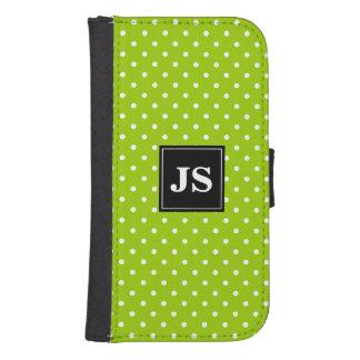 Custom apple green polkadot Samsung wallet case