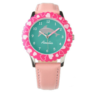 Custom aqua and pink girls watch with cute dolphin