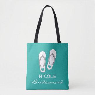Custom aqua blue sandals beach wedding tote bags