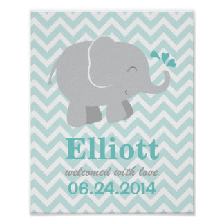 Custom Art Print for Baby | Aqua and Gray Elephant