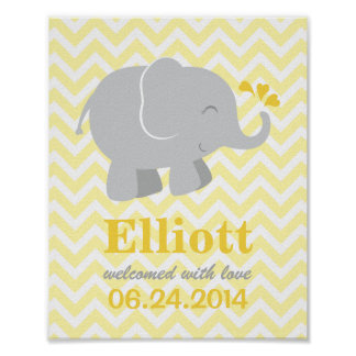 Custom Art Print for Baby | Yellow Gray Elephant