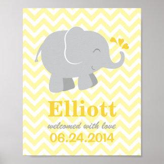 Custom Art Print for Baby | Yellow Gray Elephant
