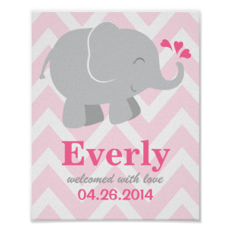 Custom Art Print | Pink and Grey Elephant