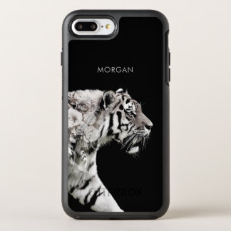 Custom Art Tiger Roses Double Exposure Portrait OtterBox Symmetry iPhone 8 Plus/7 Plus Case