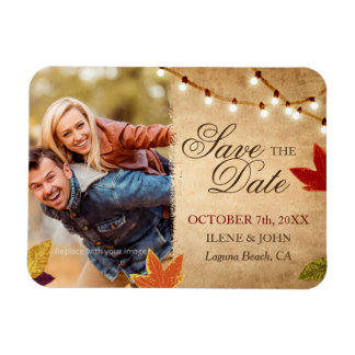 Custom Autumn Wedding Save the Date Photo Magnets
