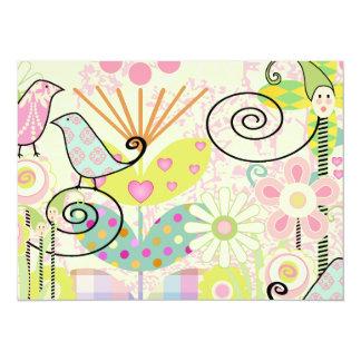 Custom Baby Bird Garden Personalized Announcement Card