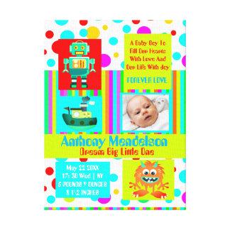 Custom baby birth announcement canvas print