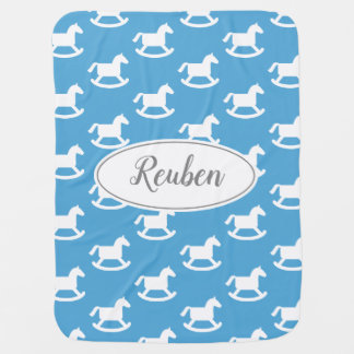 Custom baby blanket with cute rocking horse print