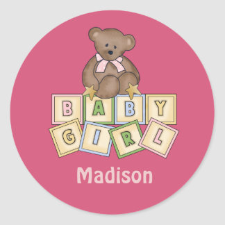 Custom Baby Blocks Girl Classic Round Sticker